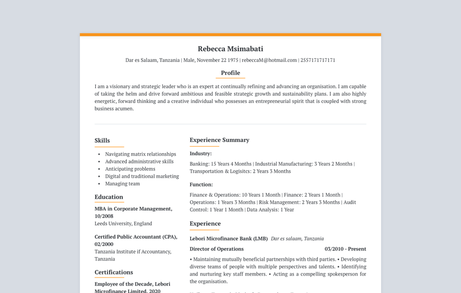 Executive CV